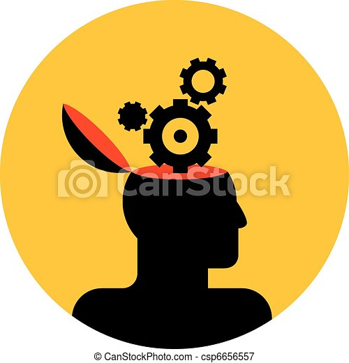 human head with gear wheels - csp6656557