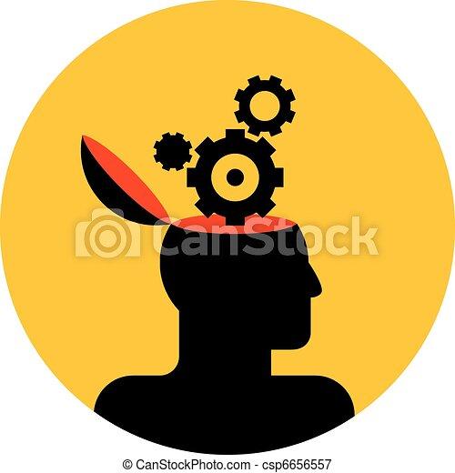 human head with gear wheels - csp6656557