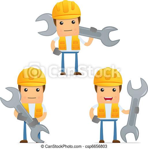 set of funny cartoon builder - csp6656803