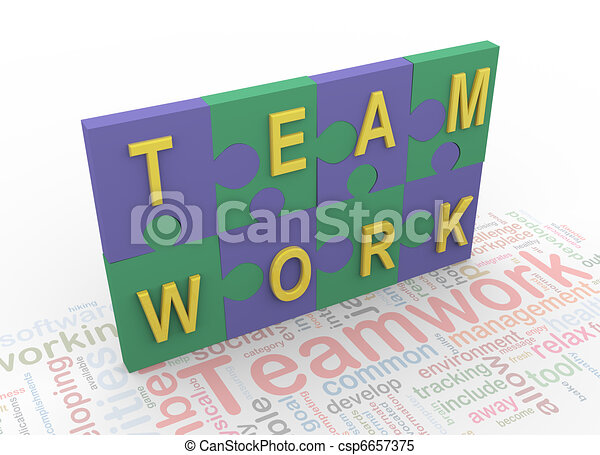 3d puzzle peaces with text 'teamwork' - csp6657375
