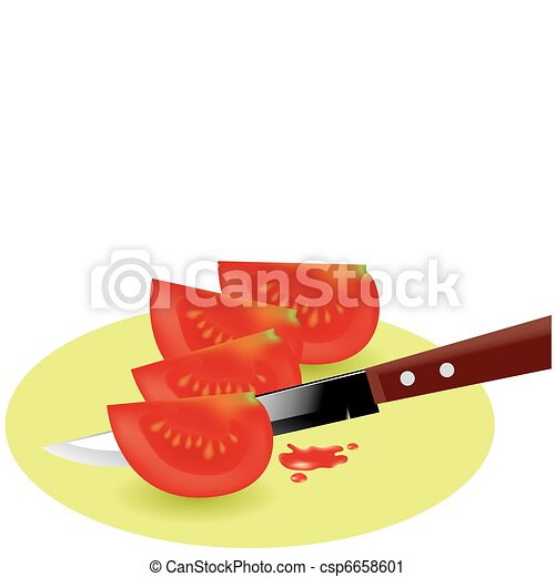 vector tomato slices and kitchen knife - csp6658601