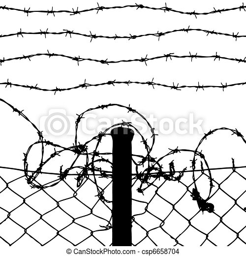 Prison Fence Graphic eps vector of vector of wired fence with four barbed wires on
