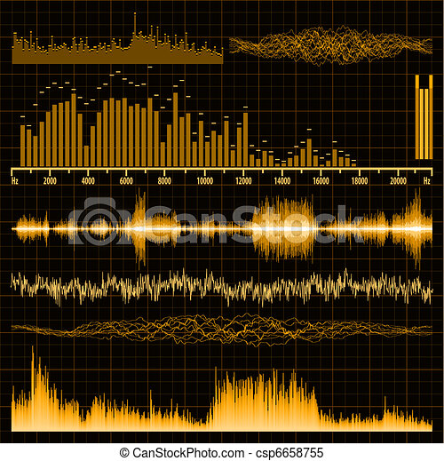 Sound waves set. Music background. EPS 8 - csp6658755