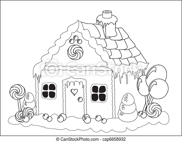 Gingerbread house colouring page - csp6658932