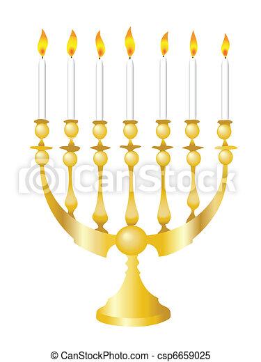 Clipart Vector of Hanukkah Menorah - Vector illustration of a Hanukkah ...