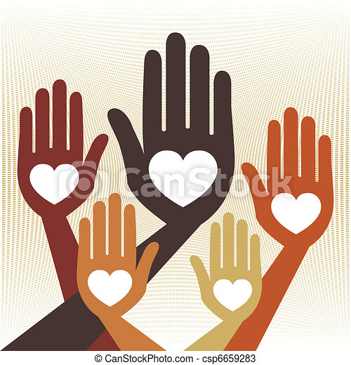 Helpful united hands vector. - csp6659283