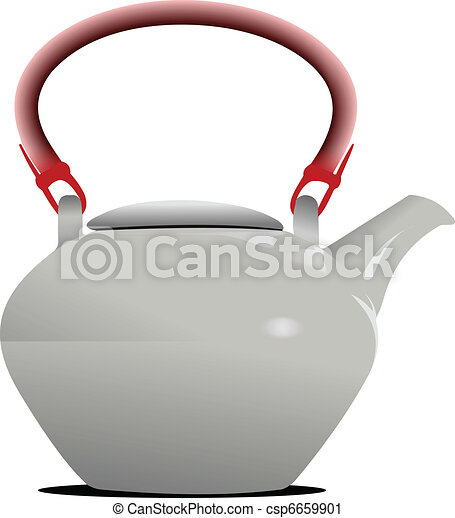White Teapot with red handle. Vect - csp6659901