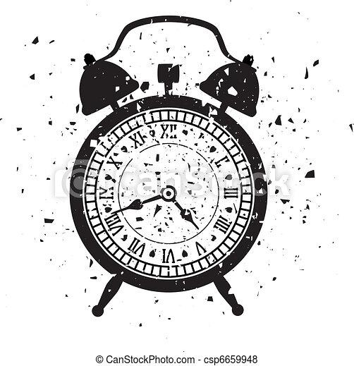 vector illustration of retro alarm clock in grungy style - csp6659948