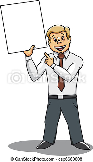 Businessman with blank placard - csp6660608