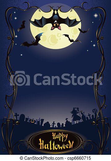 Halloween background with funny bat - csp6660715