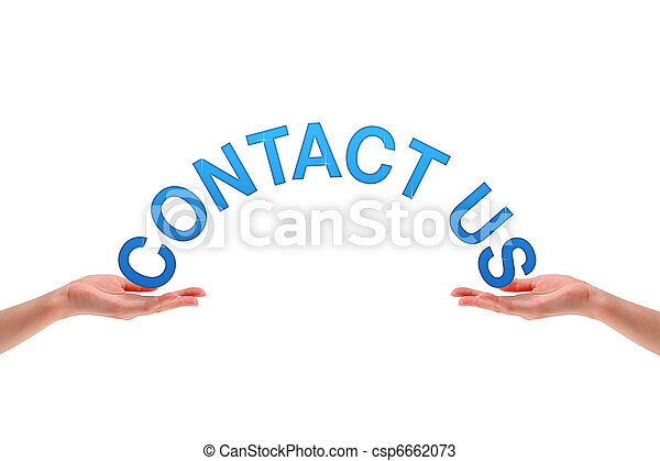 Hands holding the word contact us - csp6662073