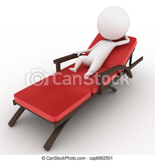 guy on a deck chair - csp6662501