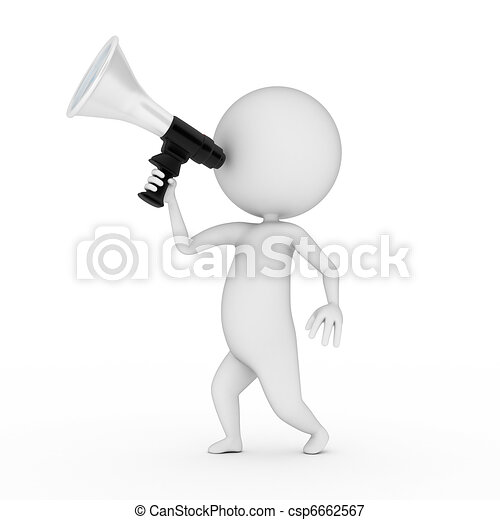 little guy with a megaphone - csp6662567