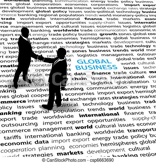 Business people global economic issues text page - csp6663690