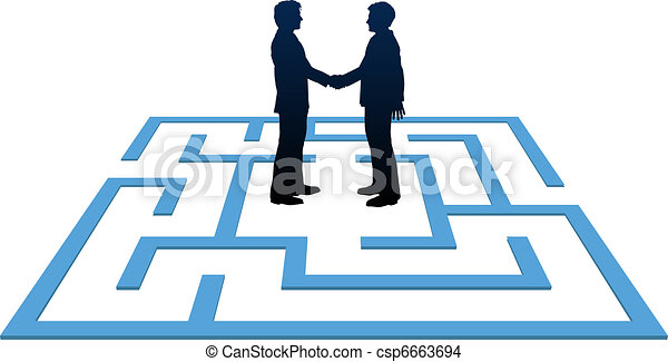 Business people meeting find maze solution - csp6663694