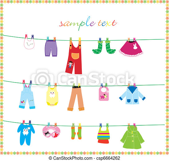 Vector Illustration of baby clothes on clothes line - baby ...