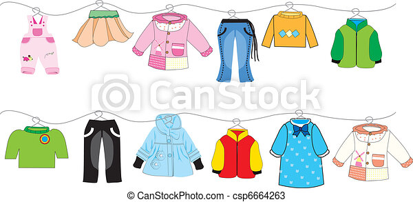 baby clothes on clothes line   - csp6664263