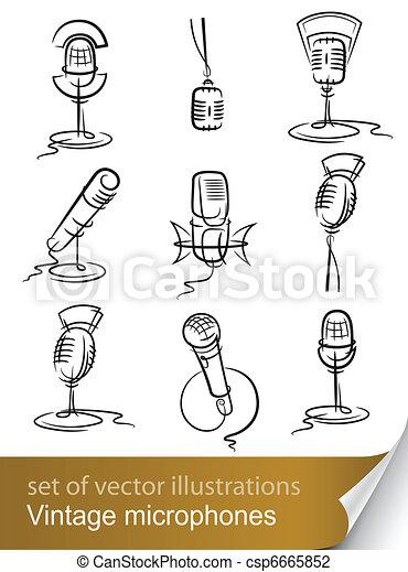 set vintage microphone - csp6665852