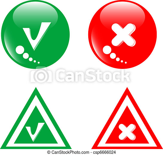 EPS Vector of button green accept and red reject set ...