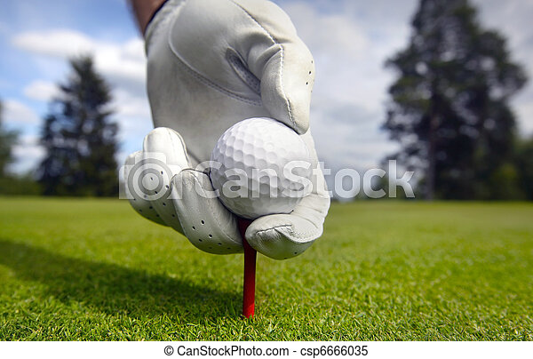 Placing golf ball on a tee - csp6666035