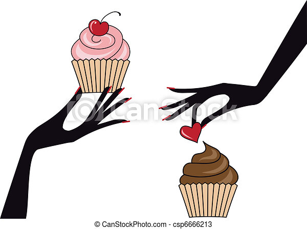 hands with cupcakes, vector - csp6666213