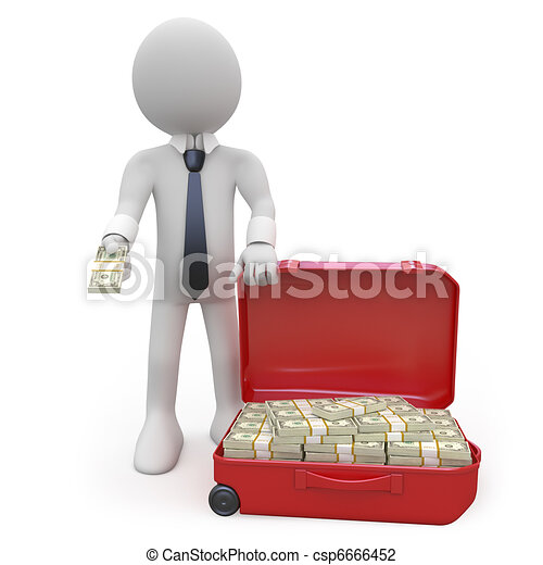 Businessman with a lot of money - csp6666452