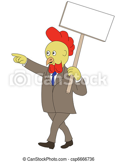 cartoon rooster chicken walking placard sign - csp6666736