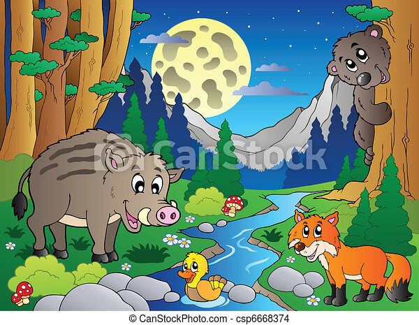 Forest scene with various animals 4 - csp6668374
