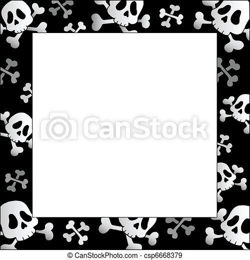 Frame with pirate skulls and bones - csp6668379