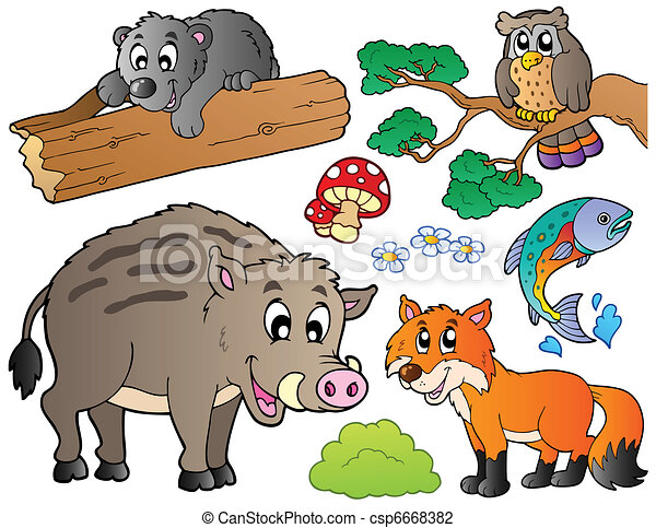 Forest cartoon animals set 1 - csp6668382