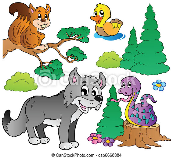 Forest cartoon animals set 2 - csp6668384