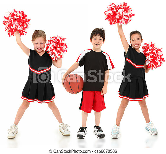 Group of Children Cheerleaders and Basketball Player - csp6670586