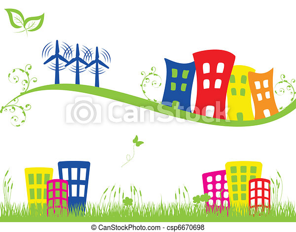 Green city with wind turbines - csp6670698