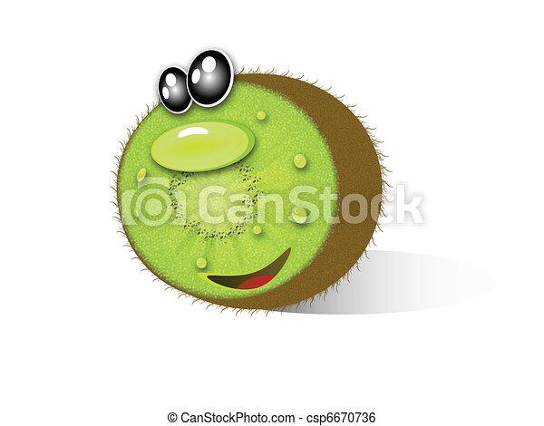 Kiwi Cartoon Drawing Kiwi Fruit Cartoon Isolated an