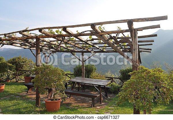 bilder von kleingarten laube a pergola in a kleingarten csp6671327 suchen sie stock. Black Bedroom Furniture Sets. Home Design Ideas