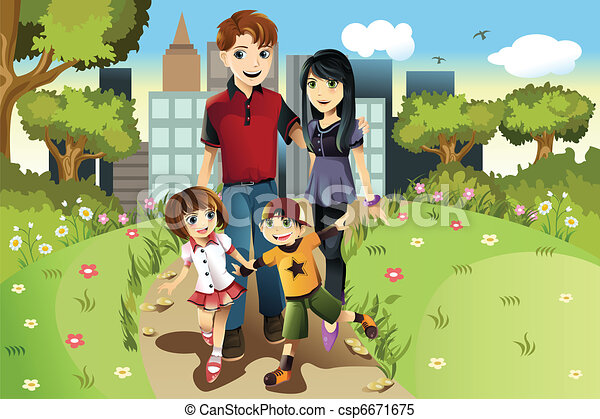 Family in the park - csp6671675