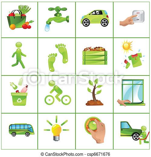Go green concept icons - csp6671676