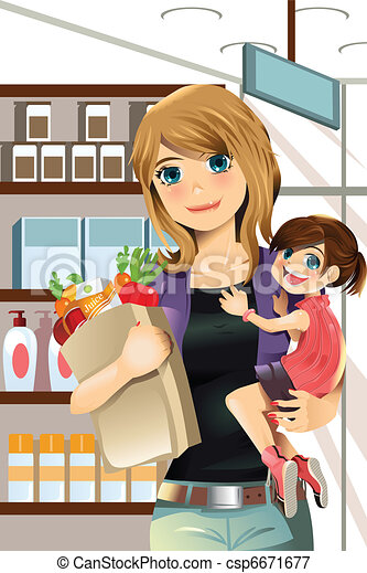 Mother and daughter shopping - csp6671677