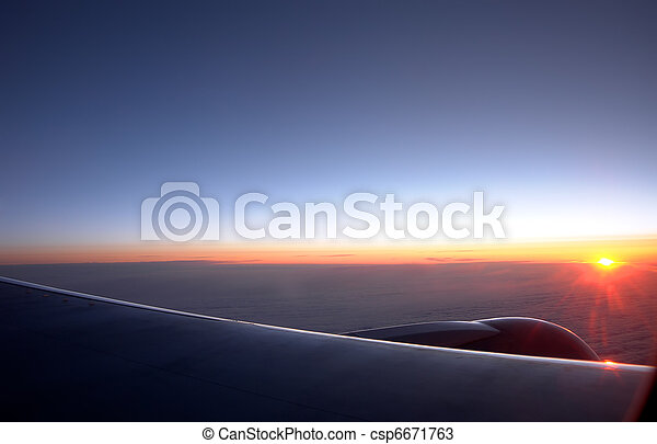 Sunrise at an altitude of ten thousand meters - csp6671763