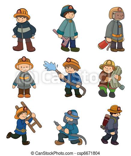 cartoon Fireman icon set  - csp6671804