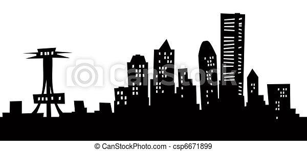Seattle Skyline Drawing Cartoon Seattle Skyline