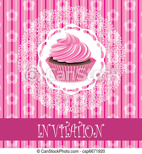 vector retro card with pink cupcake  - csp6671920