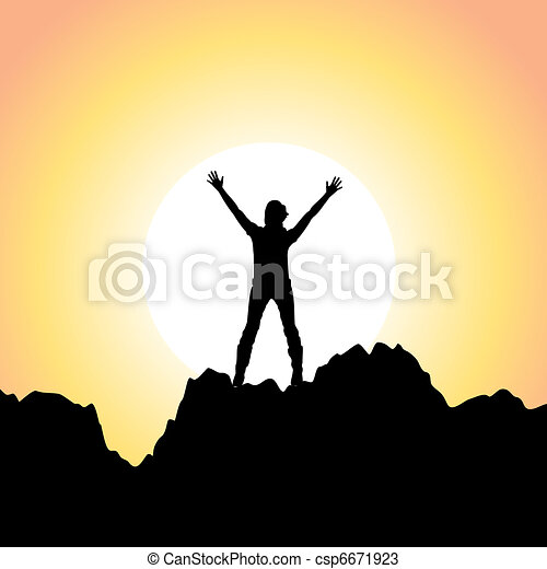 vector silhouette of a girl with raised hands - csp6671923