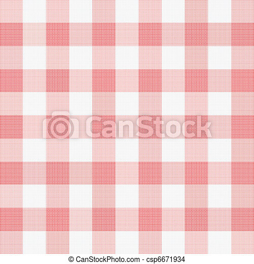 vector illustration of red picnic cloth  - csp6671934