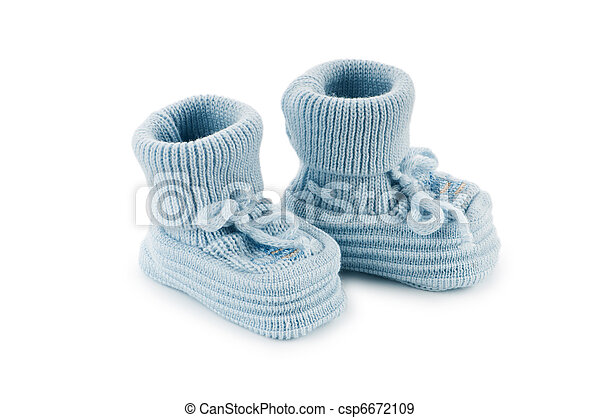 Woven baby shoes isolated on white background - csp6672109