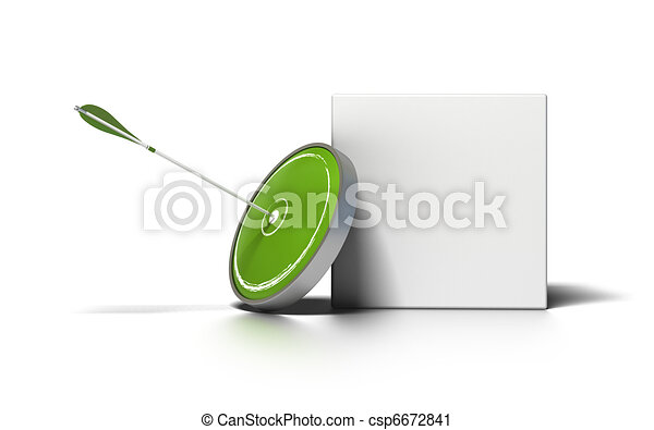 green target and arrow near a white box for writing a message image is over a white background - csp6672841