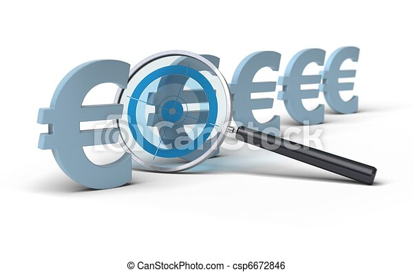magifying glass with a focus inside in front of euro symbol, image is over a white background, blue tones - csp6672846