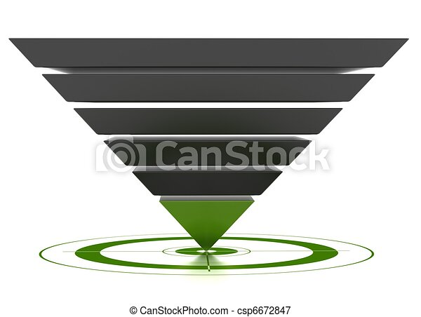 3D marketing conversion funnel used for rate analysis, isolated over a white background. - csp6672847