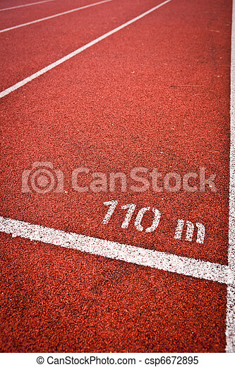 Sport grounds concept - Athletics Track Lane Numbers  - csp6672895