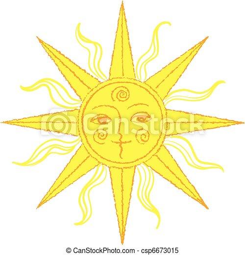 vector stylized sun - csp6673015